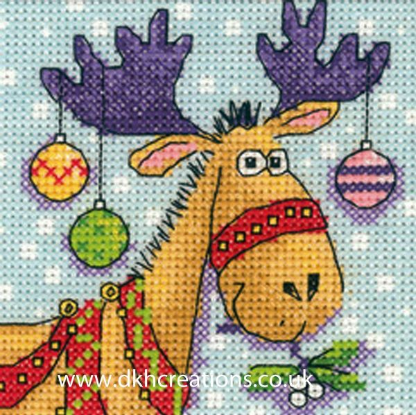 Karen Carter Christmas Reindeer Greeting Card Cross Stitch Kit